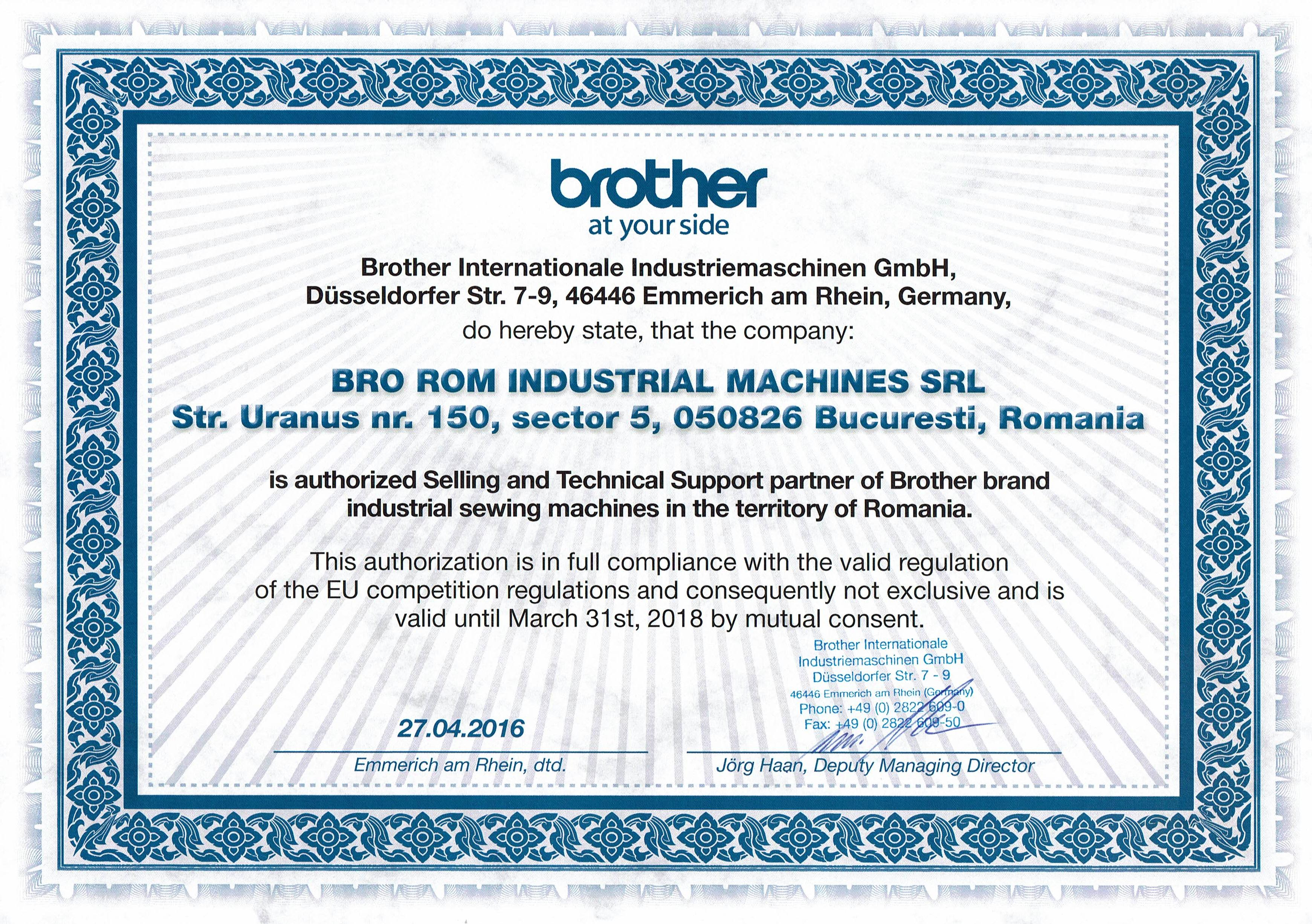 Brother - Brorom Certificate